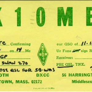 QSL Card from K1OME, Watertown, Mass., to W4ATC, NC State Student Amateur Radio
