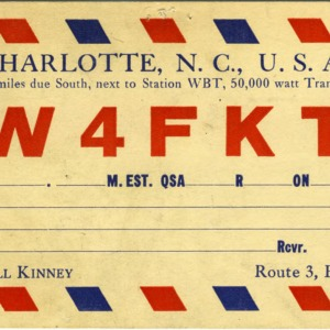 QSL Card from W4FKT, Charlotte, N.C., to W4ATC, NC State Student Amateur Radio