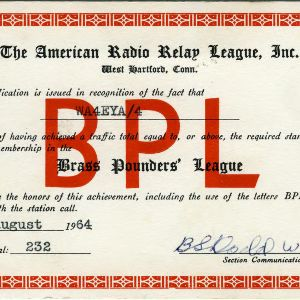 QSL Card from BPL, West Hartford, Conn., to W4ATC, NC State Student Amateur Radio