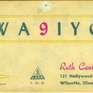 QSL Card from WA9IYG, Wilmette, Ill., to W4ATC, NC State Student Amateur Radio