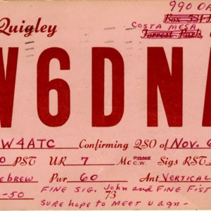 QSL Card from W6DNA, Costa Mesa, Calif., to W4ATC, NC State Student Amateur Radio