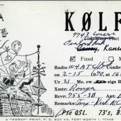 QSL Card from K0LFC, Overland Park, Kansas, U.S.A., to W4ATC, NC State Student Amateur Radio