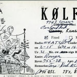 QSL Card from K0LFC, Overland Park, Kans., to W4ATC, NC State Student Amateur Radio