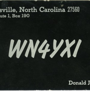 QSL Card from WN4YXI, Morrisville, N.C., to W4ATC, NC State Student Amateur Radio