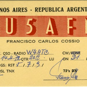 QSL Card from [LU5AFN, Buenos Aires, Republica Argentina, to W4ATC, NC State Student Amateur Radio