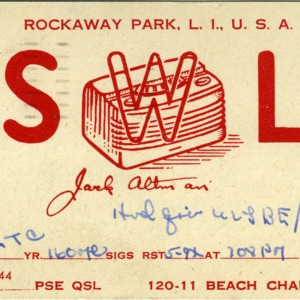 QSL Card from SWL, New York, N.Y., to W4ATC, NC State Student Amateur Radio