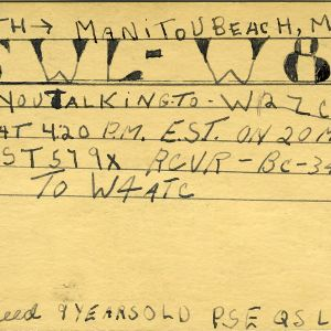 QSL Card from SWL-W8, Manitou Beach, Mich., to W4ATC, NC State Student Amateur Radio
