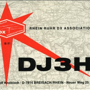 QSL Card from DJ3HJ, Breisach/Rhein, Germany, to W4ATC, NC State Student Amateur Radio