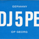 QSL Card from DJ5PE, Mettmann, Germany, to W4ATC, NC State Student Amateur Radio