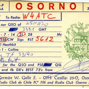 QSL Card from CE6BJ, Osorno, Chile, to W4ATC, NC State Student Amateur Radio