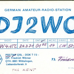 QSL Card from DJ2WO, Wittislingen, Germany, to W4ATC, NC State Student Amateur Radio