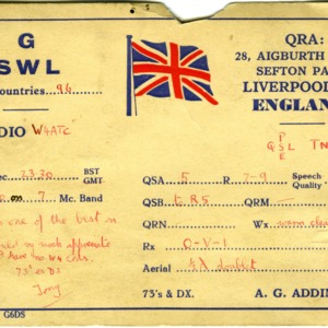 QSL Card from GSWL, Liverpool, England, to W4ATC, NC State Student Amateur Radio