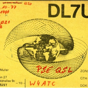 QSL Card from DL7UX, Berlin, Germany, to W4ATC, NC State Student Amateur Radio