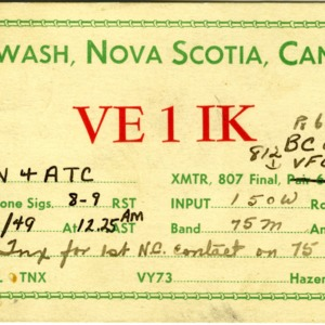 QSL Card from VE1IK, Pugwash, Canada, to W4ATC, NC State Student Amateur Radio