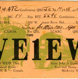 QSL Card from VE1EW, Saint John, Canada, to W4ATC, NC State Student Amateur Radio