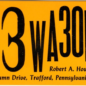 QSL Card from 73WA3ONZ, Trafford, Pa., to W4ATC, NC State Student Amateur Radio