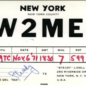 QSL Card from W2MEI, New York, N.Y., to W4ATC, NC State Student Amateur Radio