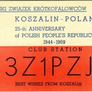 QSL Card from 3Z1PZJ, Koszalin, Poland, to W4ATC, NC State Student Amateur Radio