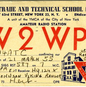 QSL Card from W2WPE, New York, N.Y., to W4ATC, NC State Student Amateur Radio