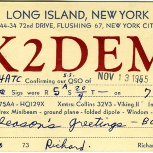 QSL Card from K2DEM, Flushing, N.Y., to W4ATC, NC State Student Amateur Radio