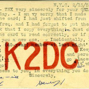 QSL Card from K2DC, New York, N.Y., to W4ATC, NC State Student Amateur Radio