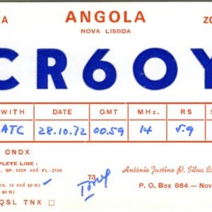 QSL Card from CR6OY, Nova Lisboa, Angola, to W4ATC, NC State Student Amateur Radio