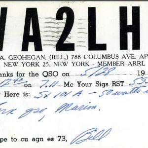 QSL Card from WA2LHP, New York, N.Y., to W4ATC, NC State Student Amateur Radio