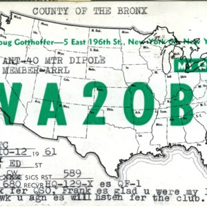 QSL Card from WA2OBQ, New York, N.Y., to W4ATC, NC State Student Amateur Radio
