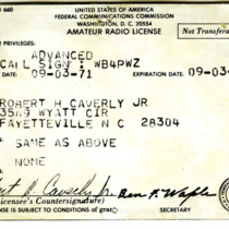 Amateur Radio License for WB4PWZ, Fayetteville, N.C.