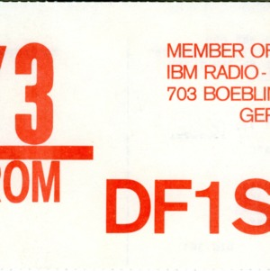 QSL Card from DF1SD, Boeblingen, Germany, to W4ATC, NC State Student Amateur Radio