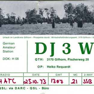 QSL Card from DJ3WV, Gifhorn, Germany, to W4ATC, NC State Student Amateur Radio