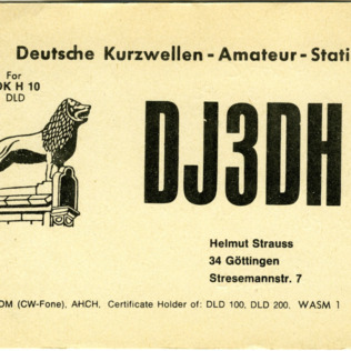 QSL Card from DJ3DH, Gottingen, Germany, to W4ATC, NC State Student Amateur Radio