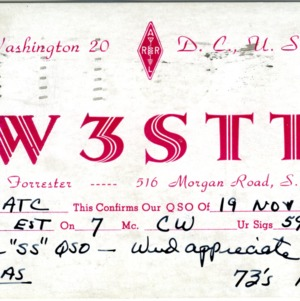 QSL Card from W3STT, Washington, D.C., to W4ATC, NC State Student Amateur Radio