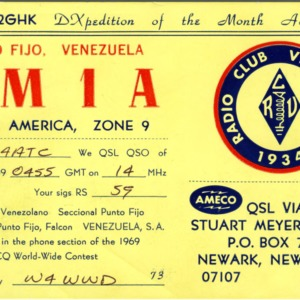 QSL Card from 4M1A, Punto Fijo, Venezuela, to W4ATC, NC State Student Amateur Radio