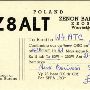 QSL Card from 3Z8ALT, Krosno, Poland, to W4ATC, NC State Student Amateur Radio