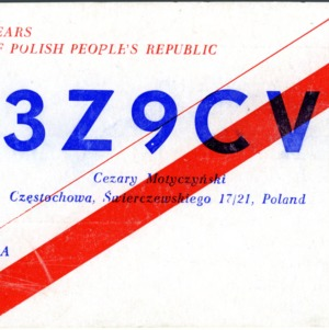 QSL Card from 3Z9CV, Czestochowa, Poland, to W4ATC, NC State Student Amateur Radio