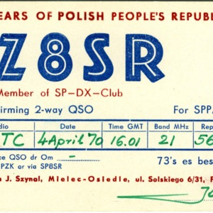 QSL Card from 3Z8SR, Mielec-Osiedle, Poland, to W4ATC, NC State Student Amateur Radio