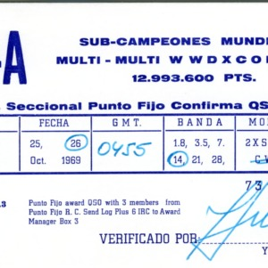QSL Card from 4M1-A, Punto Fijo, Venezuela, to W4ATC, NC State Student Amateur Radio