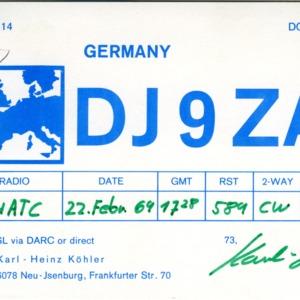 QSL Card from DJ9ZA, Neu-Isenburg, Germany, to W4ATC, NC State Student Amateur Radio