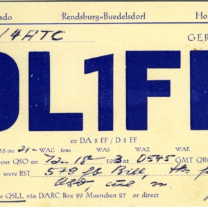 QSL Card from DL1FF, Rendsburg-Buedelsdorf, Germany, to W4ATC, NC State Student Amateur Radio