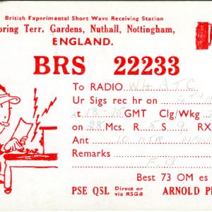 QSL Card from BRS 22233, Spring Terr. Gardens, England, to W4ATC, NC State Student Amateur Radio
