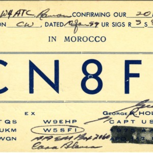 QSL Card from CN8FJ, Casa Blanca, Mororcco, to W4ATC, NC State Student Amateur Radio