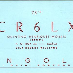 QSL Card from CR6LX, Caala, Angola, to W4ATC, NC State Student Amateur Radio