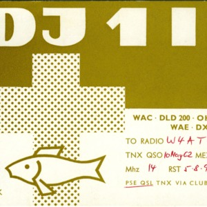QSL Card from DJ1IJ, Bremerhaven, Germany, to W4ATC, NC State Student Amateur Radio