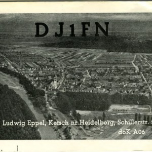 QSL Card from DJ1FN, Ketsch, Germany, to W4ATC, NC State Student Amateur Radio