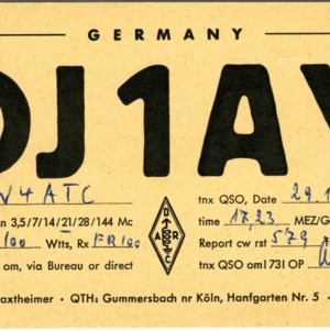 QSL Card from DJ1AY, Gummersbach, Germany, to W4ATC, NC State Student Amateur Radio