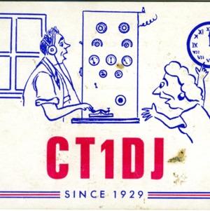 QSL Card from CT1DJ, Lisbon, Portgal, to W4ATC, NC State Student Amateur Radio
