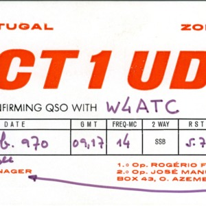 QSL Card from CT1UD, O. Azmeis, Portugal, to W4ATC, NC State Student Amateur Radio