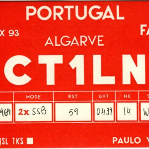 QSL Card from CT1LN, Faro, Portugal, to W4ATC, NC State Student Amateur Radio