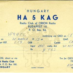 QSL Card from HA5KAG, Budapest, Hungary, to W4ATC, NC State Student Amateur Radio
